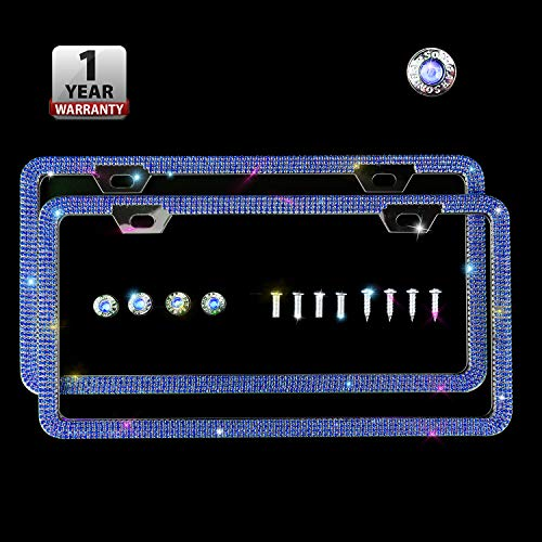 Indeedbuy Sparkle Crystal Blue Bling Car Thin Border License Plate Frame, Luxury Handmade Waterproof Glitter Rhinestone Premium Stainless Steel Licence Plate Front Back License