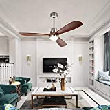 Stamo 52-inch Ceiling Fan with LED Lights, Indoor Ceiling Fan with Light, Remote Control, Delta-Wing Timing Function, Super Noiseless 3 Blades Distressed Koa Brushed Nickel