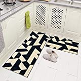 Carvapet 2 Piec Non-Slip Kitchen Rug TPR Anti-Slip Backing Mat for Doorway Bathroom Runner Rug Set, Geometric Design (17'x48'+17'x24')