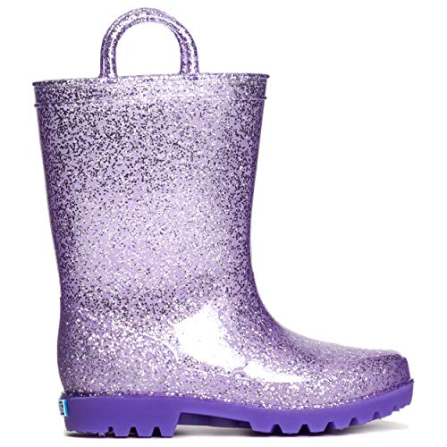 ZOOGS Kids Glitter Rain Boots for Girls and Toddlers, Purple, 10 Toddler