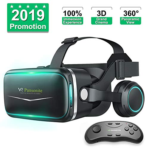 Pansonite Vr Headset with Remote Controller[New Version], 3D Glasses Virtual Reality Headset for VR Games & 3D Movies, Eye Care System for iPhone and Android Smartphones (Black)