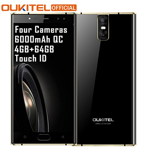 "Oukitel K3 Mobile Phone Octa Core 4GB+64GB 5.5"" Dual 2.5D Screen 6000mAh 4 Cameras 16MP+2MP Front Fingerprint Smartphone"
