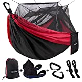 Single & Double Camping Hammock with Mosquito/Bug Net, 10ft Hammock Tree Straps & Carabiners   Easy Assembly   Portable Parachute Nylon Hammock for Camping, Backpacking, Survival, Travel & More