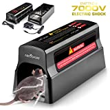 Electronic Humane Rodent Zapper - Effective Mouse Trap Killer for Rats, Mice - No Poison Use - 7000v Shock Instant Exterminator - Safe, Mess-Free & Non-Toxic That Works (New & Upgraded)