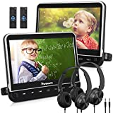 NAVISKAUTO 10.1' Dual Car DVD Players with 2 Headphones Support 1080P Video, HDMI Input, Sync Screen, AV Out & in, Resume, Region Free, USB SD (2 x Headrest DVD Players)