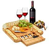 Morvat Bamboo Cheese Board with Stainless Steel Cheese Cutlery Set, Wood Serving Platter, Charcuterie Board, Cheese Cutlery Platter, Great Wedding Gift, Housewarming Gift, Gift for Wedding Registry