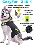 CozyFur Patented Dog Anxiety Vest Calming Music Speaker & Lavender Essential Oil Scent Thunderstorm Treats Canine Stress Relief Fireworks Thunder Separation Shirt Jacket Coat(Black, XXS (Up to 7 Lbs))