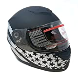Motorcycle Full Face Helmet DOT Street Legal +2 Visors (Clear Shield and Free Smoked Shield) - Flag Patriot MATTE BLACK (Small)