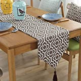 Lahome Moroccan Jacquard Table Runner-Heavy Weight Washable Table Runner with Tassel for Wedding Party Home Dinning Table Dresser Decoration (Coffee, 12'x 70')