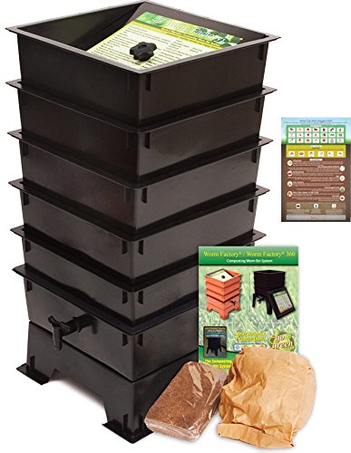 """Worm Factory DS5BT 5-Tray Worm Composting Bin + Bonus """"What Can Red Wigglers Eat?"""" Infographic Refrigerator Magnet - Vermicomposting Container System - Live Worm Farm Starter Kit for Kids & Adults"""