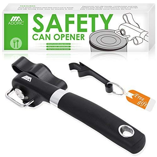 Can Opener, Stainless Steel Manual Can Bottle Opener with Smooth Edge, Handheld Bottle Tin Opener, Food Grade Heavy Duty with Anti-slip Hand Grip