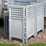 Made-In-USA White UV Resistant 4-panel Resin Outdoor Privacy Screen Hides Garbage Cans, Recyclables, Bikes. Portable Outdoor Patio Screen Enclosure Create A Private Area. Maintenance-Free, Never Needs Painting, Won't Rot or Mildew.