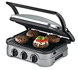 Cuisinart GRID-8NFR 5-in-1 Griddle Contact Counter-top Grill Panini Press Griddle (Renewed), Silver