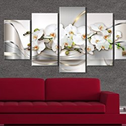 5 Panel Butterfly Orchid Flowers Canvas Print Wall Art Painting Decor for Home Decoration Picture for Bedroom Framed Ready to Hang White Floral Artwork (40″x20″, Ocean of Innocence)