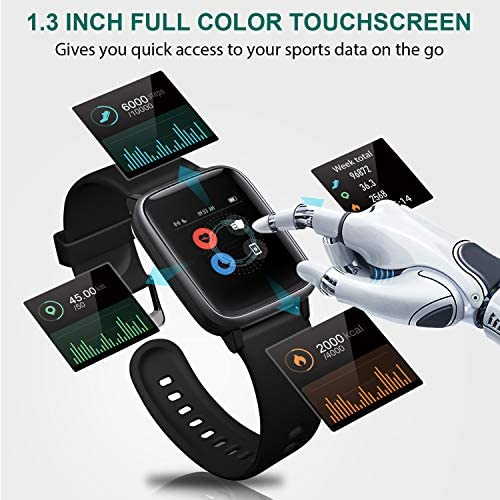 """Letsfit Smart Watch, Fitness Tracker with Heart Rate Monitor, Activity Tracker with 1.3"""" Touch Screen, IP68 Waterproof Pedometer Smartwatch with Sleep Monitor, Step Counter for Women and Men 7"""