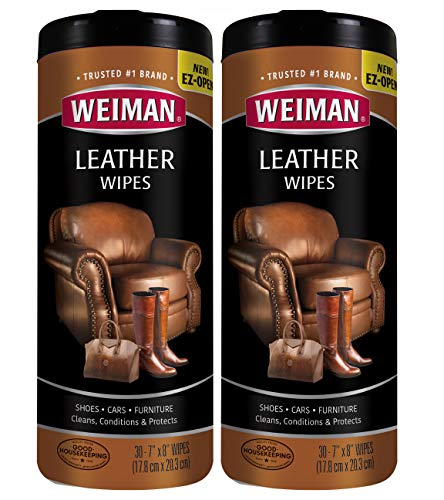 Weiman Leather Wipes for Furniture - 2 Pack - Non Toxic Formula Cleans and Conditions Car Seats, Shoes, Couches and More - 30 Coun