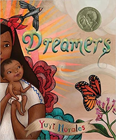 a cover image of a Hispanic woman wearing a white shirt holding a baby in a diaper.  Her image is halfway on the page.  There are flowers and a butterfly in the background.