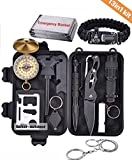 BOKER-OUTDOOR Survival Gear Kits 13 in 1- Outdoor Emergency SOS Survive Tool for Wilderness, Trip, Cars, Hiking, Camping gear, military, army, for men and women- paracord