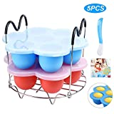 Instant Pot Accessories with Silicone Egg Bites Molds,Silicone Lid and Steamer Rack Trivet with Heat Resistant Handle for Electric Pressure Cooker Accessories 6 qt/8 qt,Pack of 3Pcs/Spoon (Red & Blue)