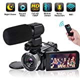 Video Camera WiFi Camcorder Comkes Full HD 1080P 30FPS Vlogging Camera 24MP 16X Digital Zoom 3.0 Inch LCD Touch Screen IR Night Vision with External Microphone and Remote Control