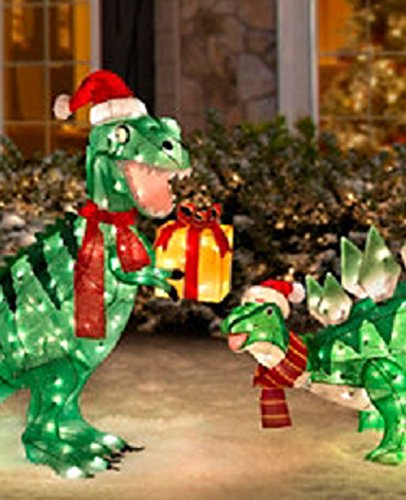 Christmas Outdoor Decorations Target: Tinsel Dinosaur Christmas Decorations