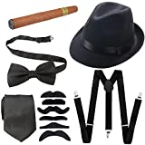 1920s Mens Accessories Hard Felt Wide Brim Panama Hat, Y-Back Elastic Suspenders & Pre Tied Bow Tie, Gangster Tie,Toy Cigar & Fake Mustache (OneSize, Black)