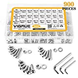 304 Stainless Steel Screws and Nuts, M3 M4 M5 Hex Socket Head Cap Screws Assortment Set Kit with Storage Box (900 Pcs Hex Button Head Cap Screws Nuts)