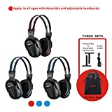 3 Pack of Wireless Car Headphones, Wireless Headphones for Kids, in Car Wireless Headphones with Travelling Bag for Universal Rear Entertainment System, 2 Channel Wireless Headphones
