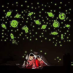 Worthy glow in the dark stars stickers/ glowing stars for ceiling/ wall stickers for bedroom.  Turn Your Bedroom Into a Galaxy - except star-studded sky, there are many beautiful plants, rockets, astronauts, UFO even alien. Every child has imagined ...