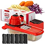 Mandoline Slicer Professional, Vegetable Slicer with 6 Interchangeable Stainless Steel Blades- Veggie Slicer Food Fruit Julienne Cutter Grater for Eggplant Potatos Onions Zuchinni Fries