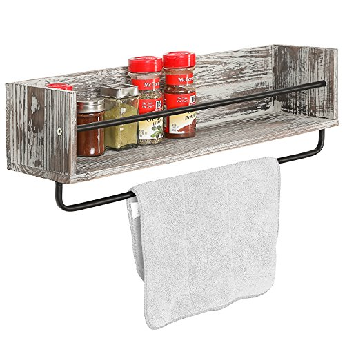 Rustic Torched Wood and Metal Wall Mounted Kitchen Spice Rack Shelf ...