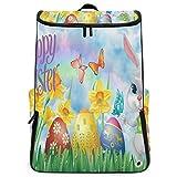 Travel Backpack Easter Bunny Grass Egg Wallpaper College Backpack for Men Large 3D Bookbag