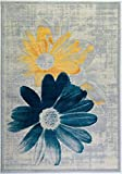 Ladole Rugs Boston Collection Contemporary Floral Pattern Area Rug Carpet in Teal Yellow, 8x11 (7'10' x 10'5', 240cm x 320cm)