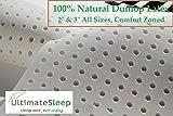 2 Inch 100% Natural Latex Foam Mattress Pad Topper, Queen