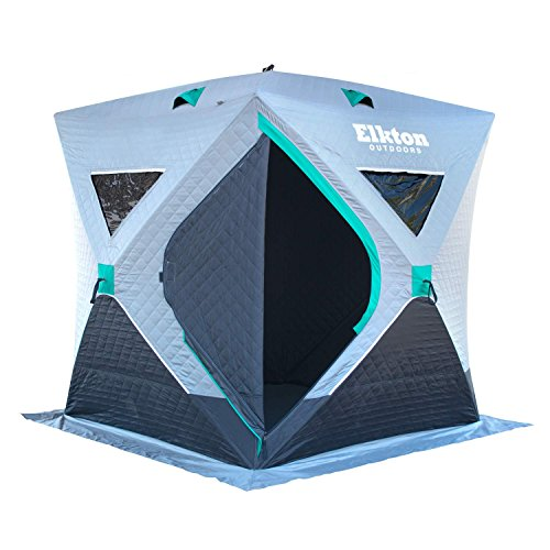 Elkton Outdoors Portable Insulated Ice Fishing Tent, 3-4 Person Insulated (Single Hub)