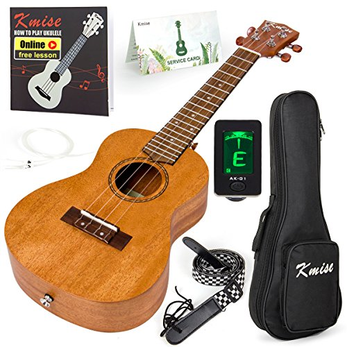 Kmise Concert Ukulele Kit Vintage Uke for Beginner With Starter Pack (Gig Bag Tuner Strap String Instruction Booklet) 23 Inch Mahogany Wood Uke (KMU23C)