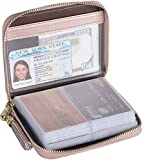 Easyoulife Womens Credit Card Holder Wallet Zip Leather Card Case RFID Blocking (Rose Gold)
