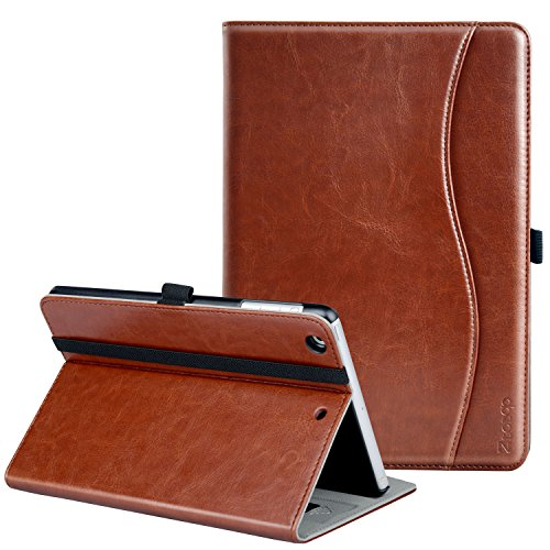 Ztotop iPad Mini 1/2/3 Case, Leather Folio Stand Protective Case Smart Cover with Multi-Angle Viewing, Pocket, Functional Elastic Strap for iPad Mini 3/ Mini 2/ Mini 1 - Brown