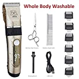 IWEEL Dog Clippers, 2-Speed Professional Rechargeable Cordless Cat Shaver and Low Noise Water Proof Electric Dog Trimmer Pet Grooming Kit Animal Hair Clippers Tool with Scissors Combs