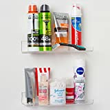 Bathroom Shelf Wall Mounted, (2 Pack) 10 inch Clear Acrylic Shelves by Pretty Display. Space Saver, Rustproof, Extra Strong & Easy to Wall Mount