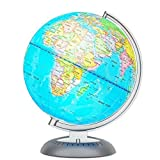 Illuminated World Globe for Kids with Stand – Built-in LED Light Illuminates for Night View – Colorful, Easy-Read Labels of Continents, Countries, Capitals & Natural Wonders, 8'