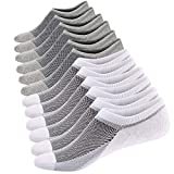 Men's Cotton Low Cut No Show Casual Loafer Socks Boat Shoe Liners with Non-Slip Grip (Shoe Size:10-14, White/Grey (3 Pairs Each))