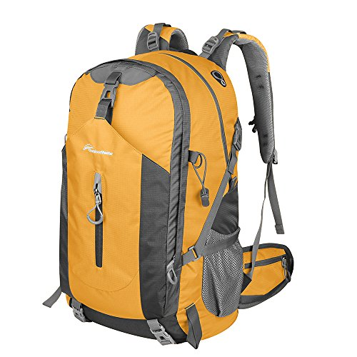OutdoorMaster Hiking Backpack 50L - Weekend Pack w/ Waterproof Rain Cover & Laptop Compartment - for Camping, Travel, Hiking (Orange/Grey)