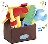 Kleeger Plush Tool Play Set for Toddlers (5 Pcs - Play's Sounds) with Carrier Box | Extra Soft & Cute Toys for Baby Boys/Girls & Pre-School Children | Great Gift Idea