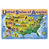 Melissa & Doug Wooden USA Map Puzzle, Wipe-Clean Surface, Teaches Geography & Shapes, 45 Pieces, 18.2″ H × 11.6″ W × 0.45″ L