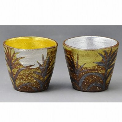 Kiyomizu-kyo yaki ware. Set of 2 Japanese Sake guinomi cups Gold and silver with wooden box. Ceramic. kymz-Gmv076