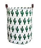 ESSME Laundry Hamper,Collapsible Canvas Waterproof Storage Bin for Kids, Nursery Hamper,Gift Baskets,Home Organizer(Cactus)