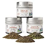 Gustus Vitae - Italian French Countryside Gourmet Seasoning & Spice Collection - Artisan Salt Free Spices - All Natural - Non GMO - Small Batch - Hand Packed - Magnetic Tins