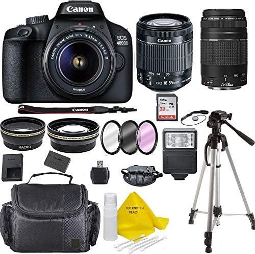 Tech :  Appareil photo reflex numérique Canon EOS 4000D avec kit d'objectif 18-55 + objectif Canon 75-300  , avis
