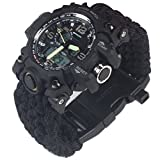 G-LEAF Fathers Day Gifts  Waterproof Survival Watch with Black Paracord (Silver)